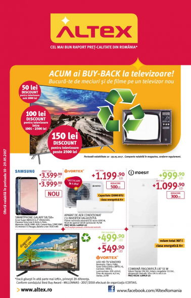 Catalog ALTEX – Buy Back la televizoare! 10 Mai 2017 – 29 Mai 2017