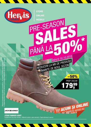 Catalog HERVIS SPORT – Reduceri Pre Sezon, -50% ! 06 Octombrie 2016 – 16 Octombrie 2016