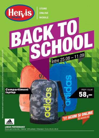 Catalog HERVIS SPORT – Back to school ! 25 August 2016 – 11 Septembrie 2016