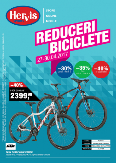Catalog HERVIS SPORT – Reduceri Biciclete! 27 Aprilie 2017 – 30 Aprilie 2017