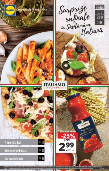 Catalog LIDL – Surprize rafinate in Saptamana Italiana! 17 Octombrie 2016 – 23 Octombrie 2016